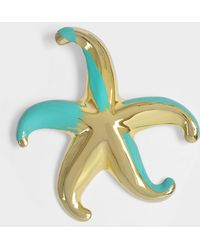 Giorgio Armani - Star Brooch In Gold And Turquoise Metal - Lyst