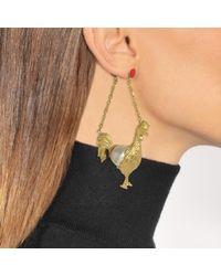Carven - Rooster Mono Earring In Ivory Brass - Lyst