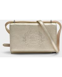 0db2558b15ce39 Burberry - Hadley Crest Embossed Wallet With Removable Strap In Gold  Calfskin - Lyst