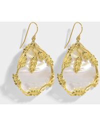 Aurelie Bidermann - Francoise Pendant Earrings In 18k Gold-plated Brass And Mother Of Pearl - Lyst