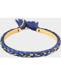 Aurelie Bidermann - Copacabana Small Bracelet In Navy Blue And Black Metal, Gold, And Cotton - Lyst