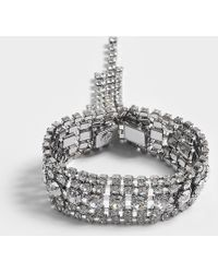 Helene Zubeldia - Crystals Cascade Open Bracelet In Ruthenium And Crystals - Lyst