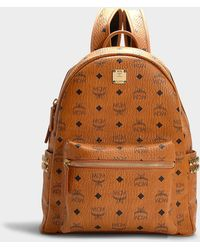 MCM - Stark Side Studs Medium Backpack In Cognac Synthetic Material - Lyst