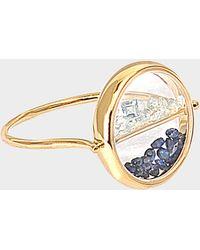 Aurelie Bidermann - Yellow Gold and sapphire glass chivor ring with Blue Sapphires - Lyst