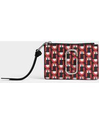 Marc Jacobs - Snapshot Logo Top Zip Multi Wallet In Red Split Cow Leather - Lyst