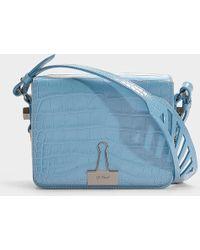 Off-White c/o Virgil Abloh - Cocco Flap Bag In Blue Calfskin - Lyst