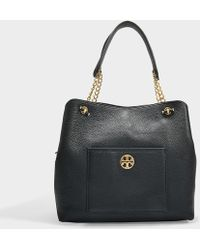 Tory Burch - Chelsea Slouchy Tote In Black Grained Calfskin - Lyst
