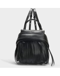 Tod's - Wave Mini Backpack With Fringes In Black Calfskin - Lyst