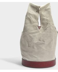 Carven - Bucket Bag Hand Carry In Burgundy Calfskin Leather - Lyst