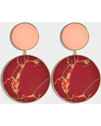 Joanna Laura Constantine - Monochrome Statement Earrings In Gold-plated Brass With Yashma And Light Pink Coral - Lyst