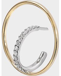 Charlotte Chesnais - Saturn S Mono Earring In Yellow And White 18k Gold And Diamonds - Lyst