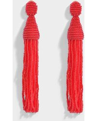 Oscar de la Renta - Long Beaded Tassel Clip Earrings In Ruby Synthetic Material - Lyst