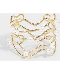 Aurelie Bidermann Cheyne Walk Cuff Bracelet In Pearl And White Gold Plated Brass