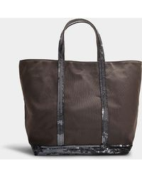 Vanessa Bruno - Canvas And Sequins Medium + Tote In Steel Grey Cotton - Lyst
