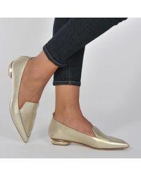 Nicholas Kirkwood - Beya Metallic Textured-leather Point-toe Flats - Lyst