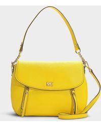 55b581b74b43 MICHAEL Michael Kors - Evie Medium Shoulder Flap Bag In Sunflower Calfskin  - Lyst