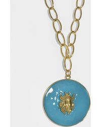Elvira Scarab Pendant Necklace in Blue Enamel and 18K Gold-Plated Brass Aur mkDRam6