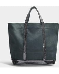 Vanessa Bruno - Washed Leather And Sequins Medium + Tote In Green Calfskin - Lyst