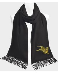 KENZO - 50x210 Jumping Tiger Stole In Jumping Tiger Black Wool - Lyst