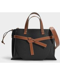 Loewe - Gate Top Handle Bag In Black And Brown Grained Calfskin - Lyst