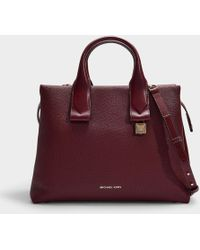 bfaa66981203 MICHAEL Michael Kors - Rollins Large Satchel Bag In Oxblood Grained  Calfskin - Lyst