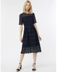 Monsoon - Emily Lace Fit & Flare Dress - Lyst
