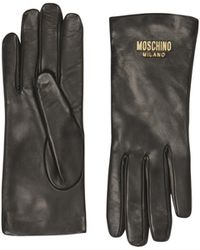 Moschino - Leather Gloves With Logo - Lyst