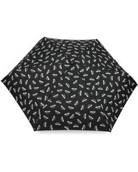 Moschino - Mini Umbrella With All Over Logo Print And Lettering Logo - Lyst