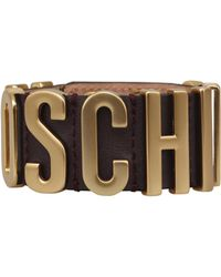 Moschino Leather Bracelet With Logo