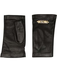 Moschino - Fingerless Leather Gloves With Mini Lettering Logo - Lyst