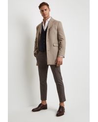 Moss London - Slim Fit Oatmeal Overcoat - Lyst