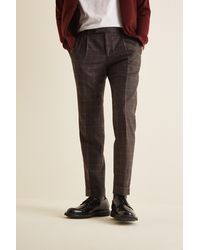Moss London - Slim Fit Italian Brown Check Trousers - Lyst
