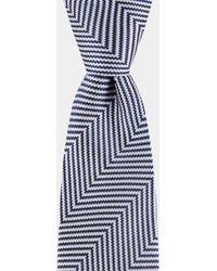 DKNY - Navy & White Herringbone Tie - Lyst