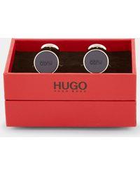 HUGO - Round Enamel Navy Cufflinks - Lyst