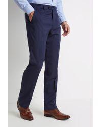 Moss Esq. - Regular Fit Navy Stripe Trousers - Lyst