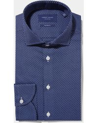 Hardy Amies - Tailored Fit Blue Single Cuff Dobby Shirt - Lyst