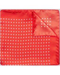 Hardy Amies - Red Polka Dot Diamond Pocket Square - Lyst
