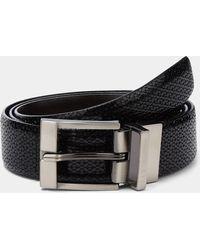 Ted Baker - Black Inka Woven Reversible Leather Belt - Lyst