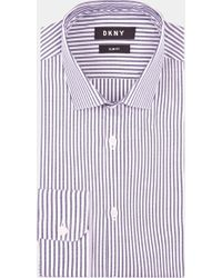 DKNY - Slim Fit Navy Single Cuff Stripe Shirt - Lyst