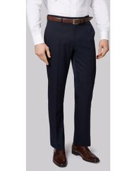 Moss Esq. - Regular Fit Machine Washable Navy Trousers - Lyst