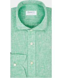 Emmett - Slim Fit Green Single Cuff Linen Shirt - Lyst