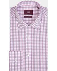 Moss Esq. - Regular Fit Berry Single Cuff Check Shirt - Lyst