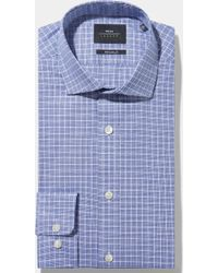 Moss Bros - Extra Slim Fit Single Cuff Blue Boucle Check Shirt In Italian Fabric - Lyst