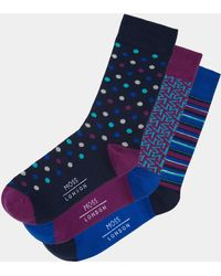 Moss London - Blue & Grape Geo Sock 3-pack Boxed Gift Set - Lyst