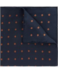 Hardy Amies - Navy & Toffee Spot Silk Pocket Square - Lyst