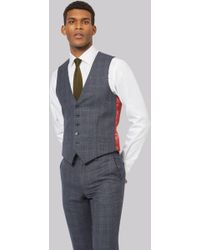 Ted Baker - Tailored Fit Blue With Orange Waistcoat - Lyst