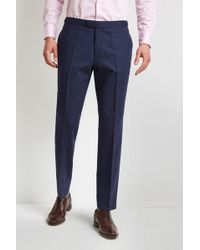 Hardy Amies - Tailored Fit Blue Hopsack Trouser - Lyst