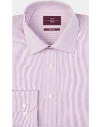 Moss Esq. - Regular Fit Pink Single Cuff Stripe Shirt - Lyst