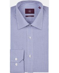 Moss Esq. - Regular Fit Navy Single Cuff Check Shirt - Lyst