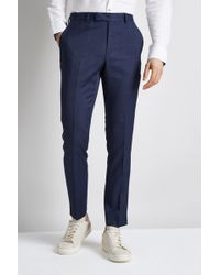 Moss London - Skinny Fit Unstructured Blue Check Trousers - Lyst